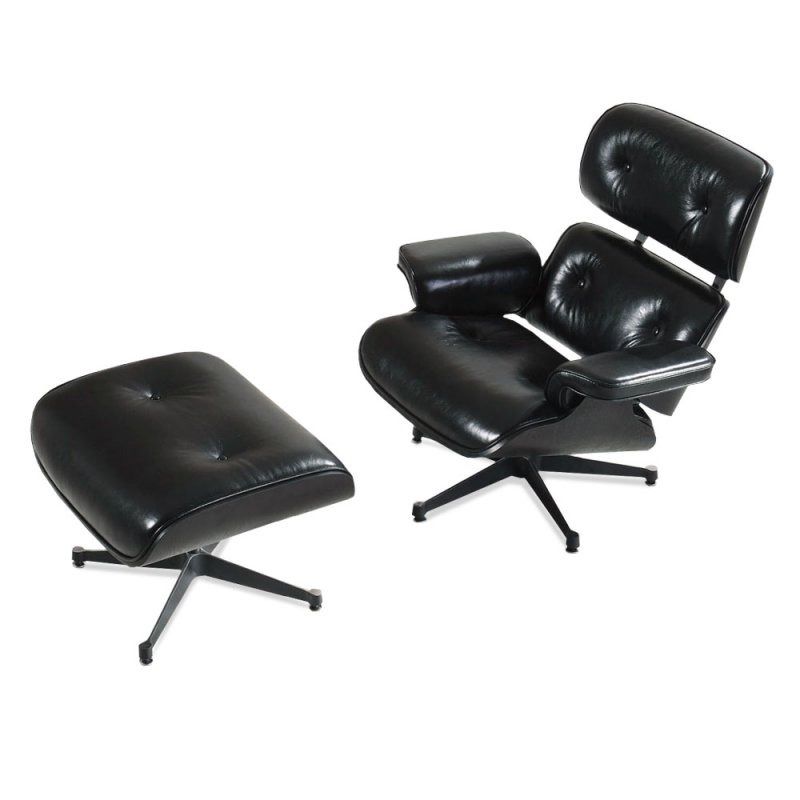 eames lounge chair und ottomane schwarz mit schwarzem. Black Bedroom Furniture Sets. Home Design Ideas