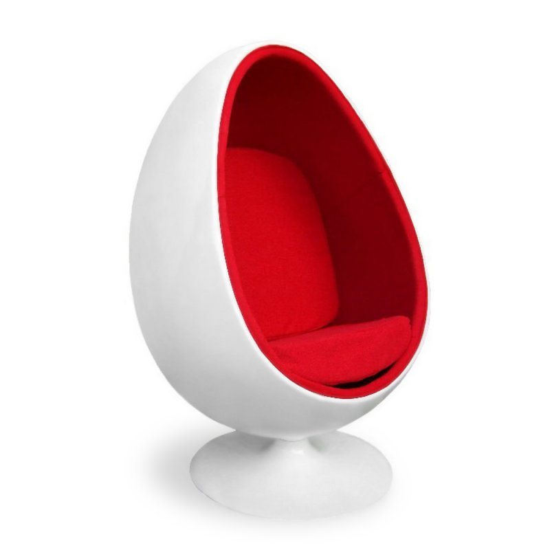 eero aarnio egg chair mit rotem polster 737 00. Black Bedroom Furniture Sets. Home Design Ideas