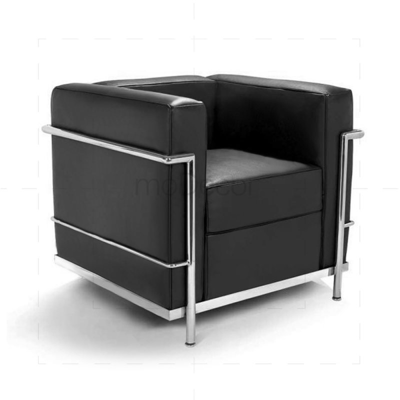 le corbusier lc2 sessel mit schwarzem leder 558 00. Black Bedroom Furniture Sets. Home Design Ideas
