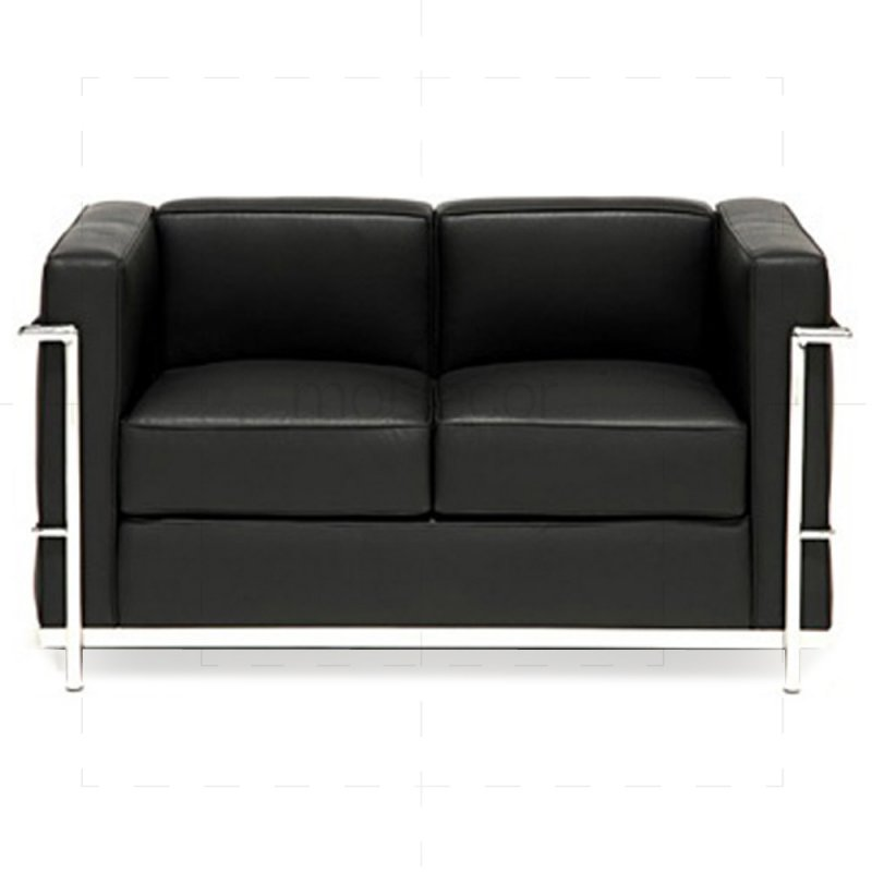le corbusier lc2 sofa zweisitzer mit schwarzem leder 846 00. Black Bedroom Furniture Sets. Home Design Ideas
